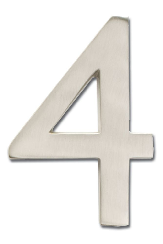 """Solid Cast Brass 4 inch Floating House Number Satin Nickel """"4"""""""