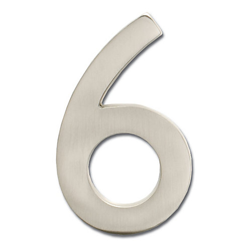 """Solid Cast Brass 4 inch Floating House Number Satin Nickel """"6"""""""