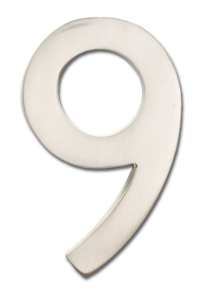 """Solid Cast Brass 4 inch Floating House Number Satin Nickel """"9"""""""