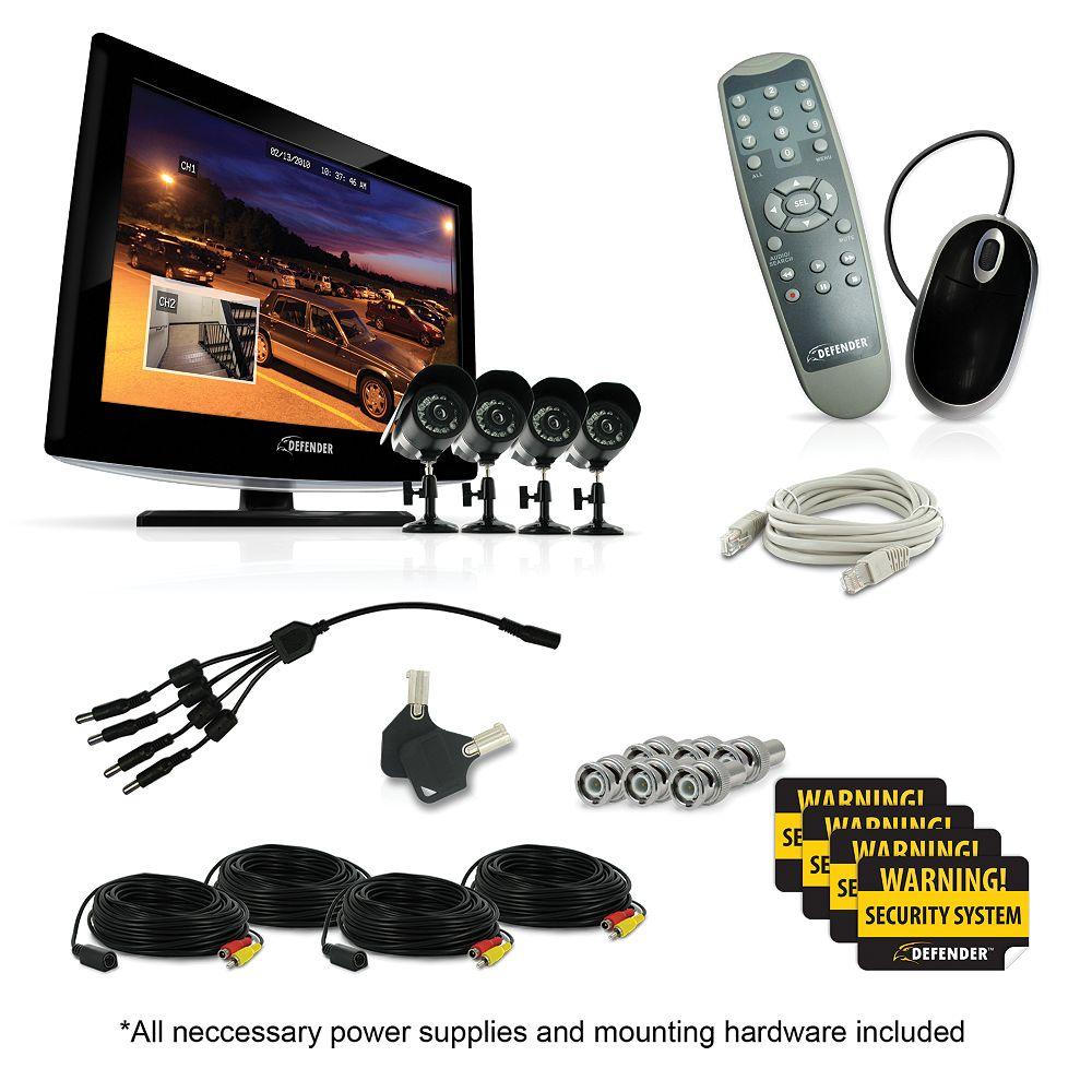 Defender Système de sécurité Sync 19 LCD tout-en-un avec 4 caméras de surveillance haute résolution pour l'intérieur et l'extérieur