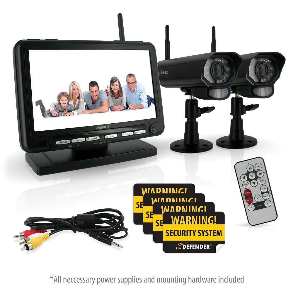 Defender Système de sécurité DVR numérique sans fil Defender, écran LCD 7po, avec 2 caméras longue portée et vision nocturne
