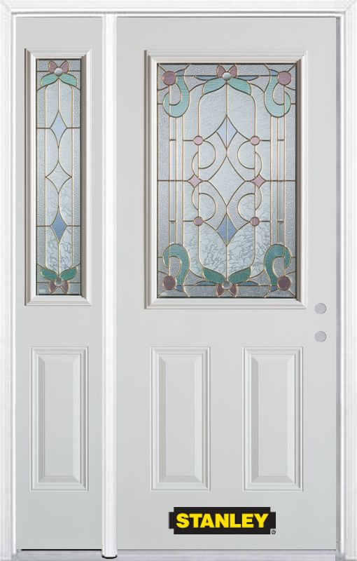 50-inch x 82-inch Aristocrat 1/2-Lite 2-Panel White Steel Entry Door with Sidelite and Brickmould