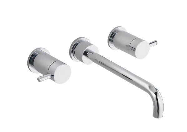 Serin Wall-Mount 2-Handle Bathroom Faucet in Satin Nickel Finish
