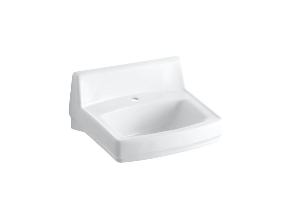 KOHLER Greenwich(TM) 20-3/4 inch x 18-1/4 inch wall-mount/concealed arm carrier bathroom sink with single faucet hole