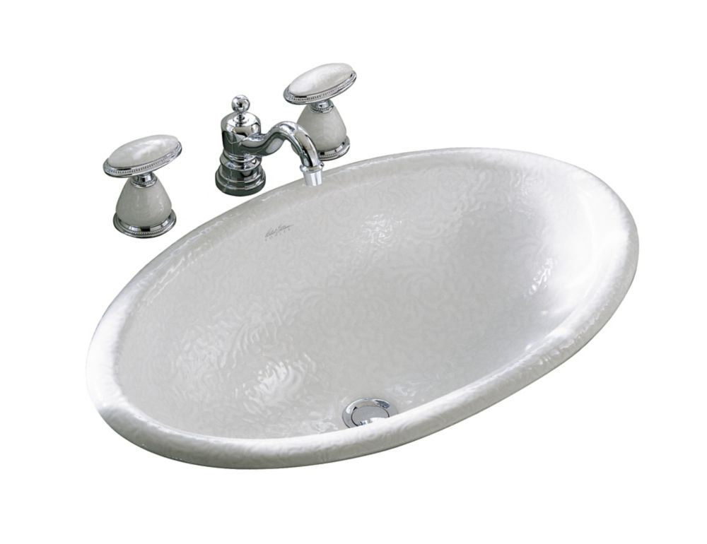 Vintage Self-Rimming Bathroom Sink with Garland Design in White