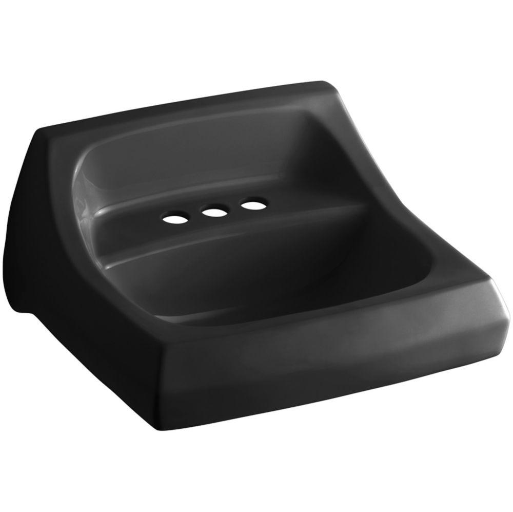 Kingston Wall-Mount Bathroom Sink in Black Black