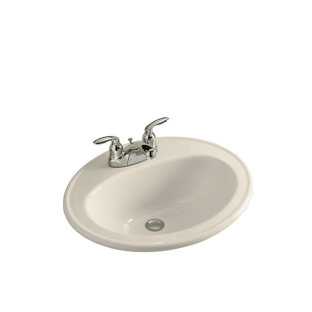 Kohler Pennington R Drop In Bathroom Sink With Centerset Faucet Holes The Home Depot Canada