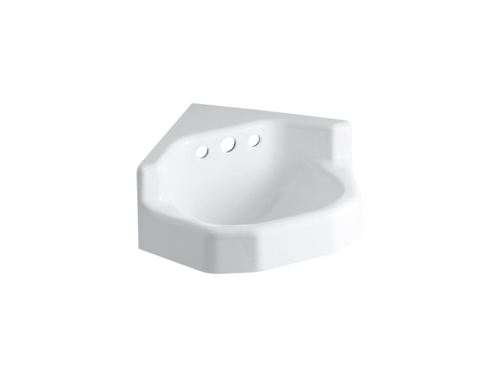 Kohler Marston Wall Mount Corner Bathroom Sink In White