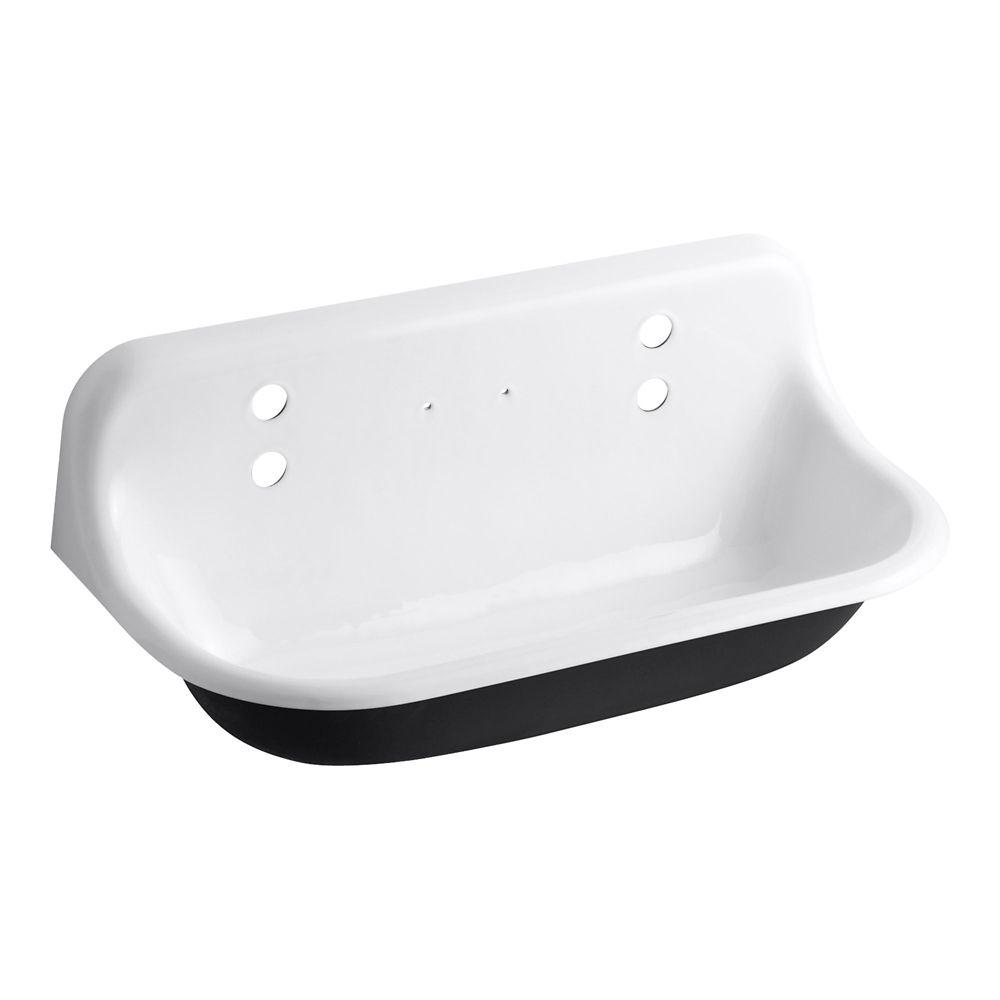 KOHLER Brockway Wall-Mount Cast-Iron 36X17.5X15.625 Wash Sink In White