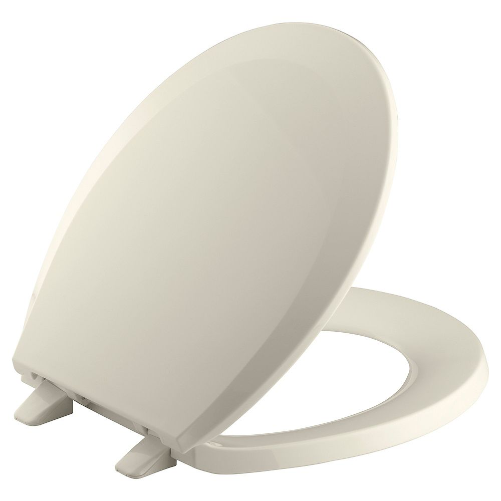 KOHLER Lustra Round Front Closed Toilet Seat in Almond