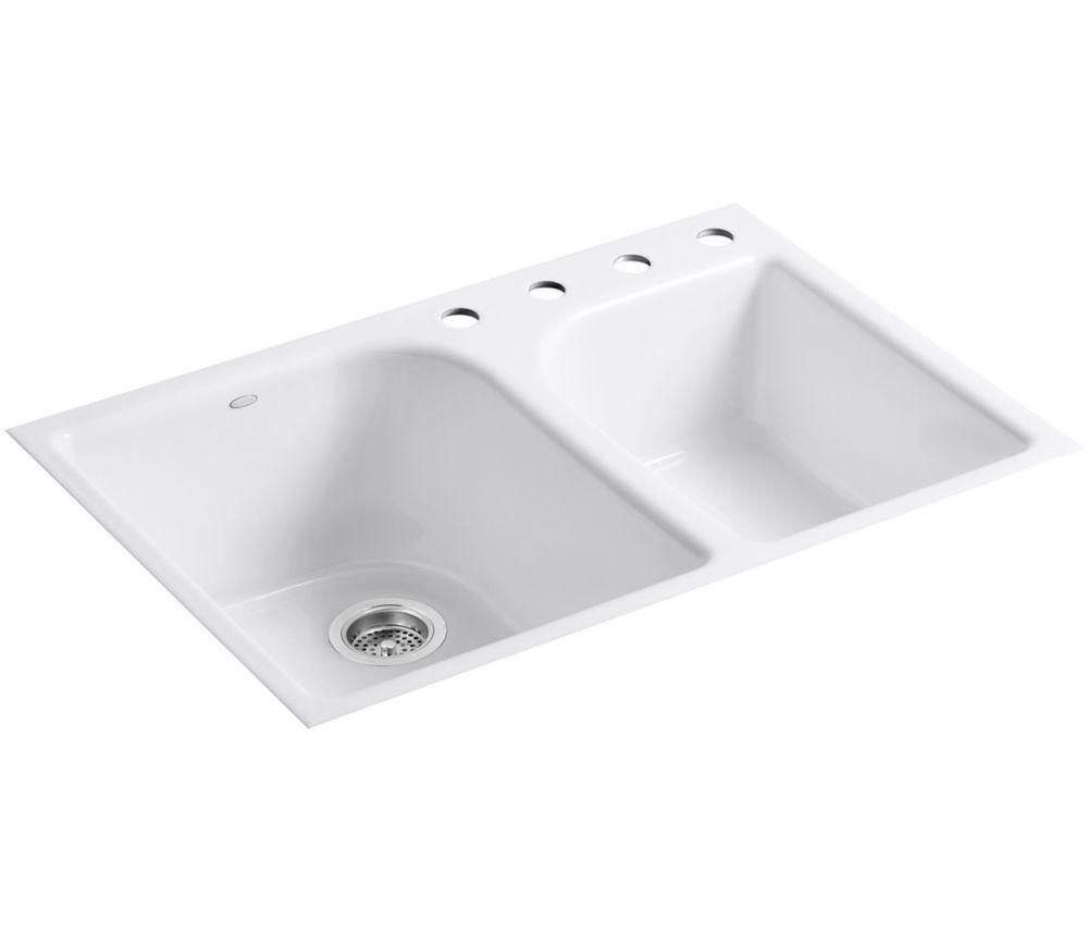 Executive Chef(Tm) Tile-in Kitchen Sink in White K-5931-4-0 Canada Discount