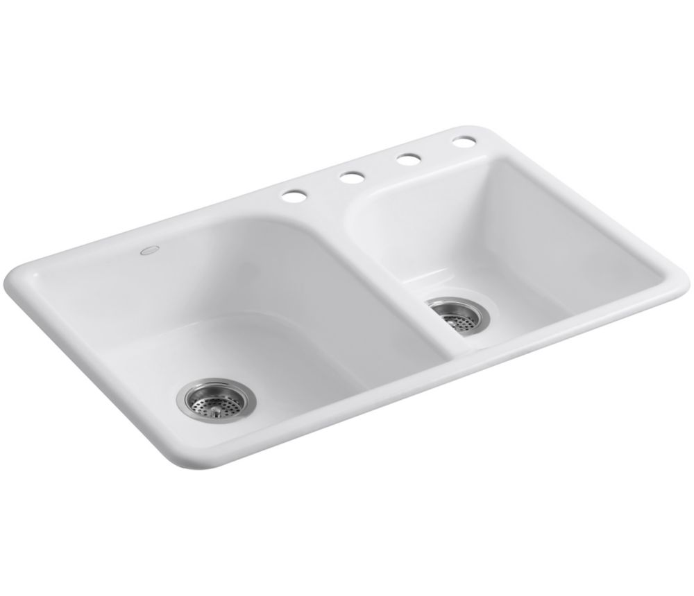 tm self rimming kitchen sink in white the home depot canada