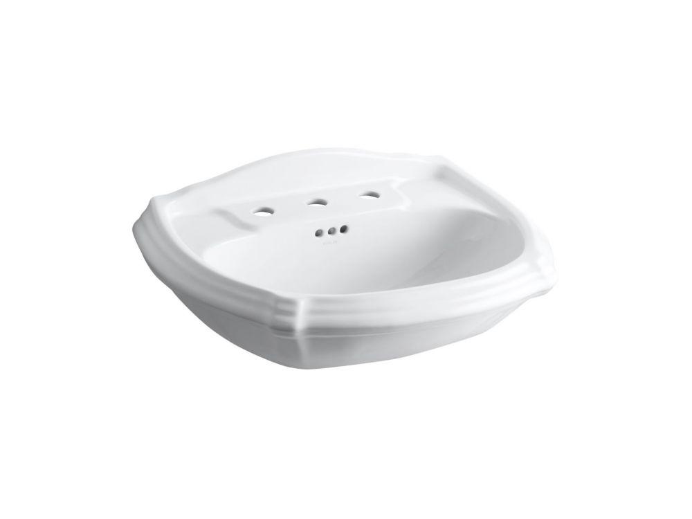 Portrait Bathroom Pedestal Sink Basin in White