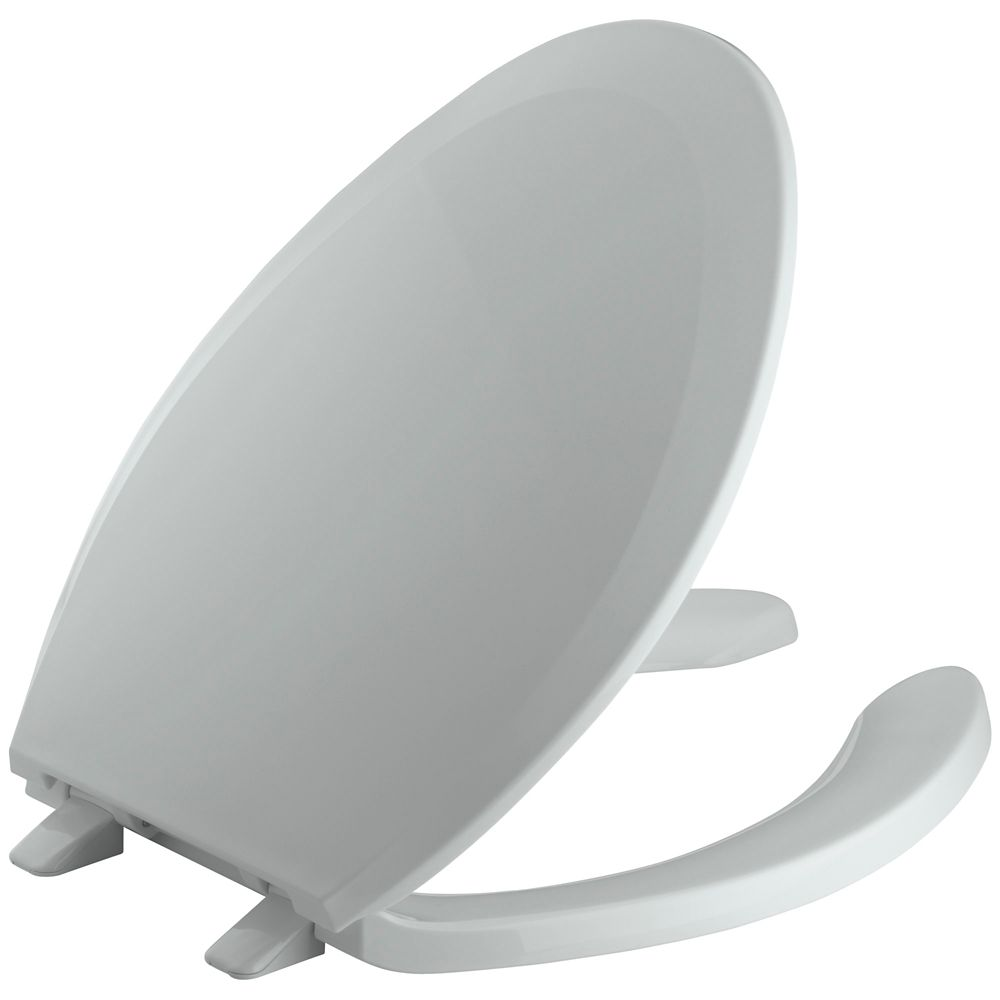Lustra� Elongated Open Front Toilet Seat in Ice Grey