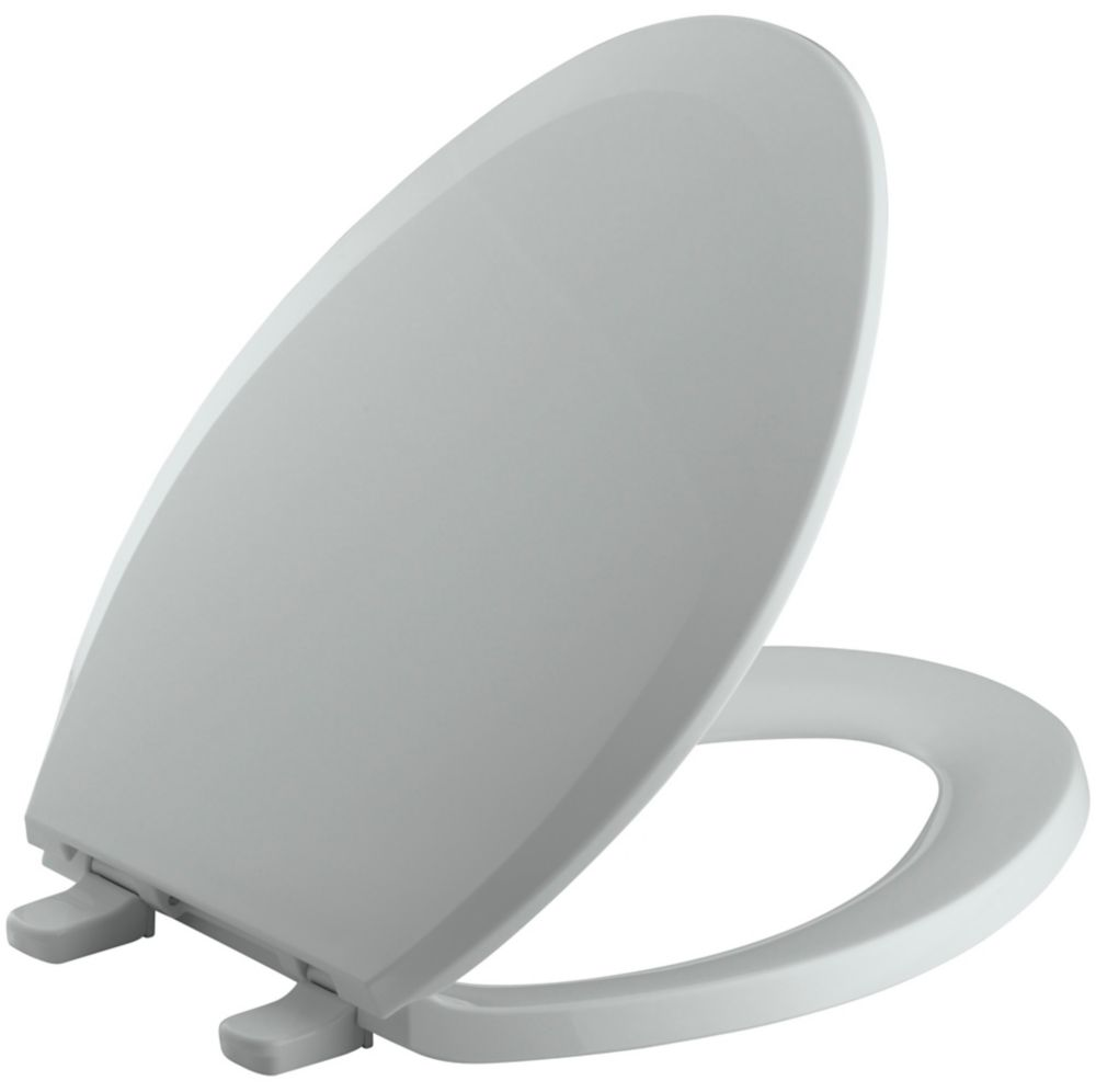 Lustra� Elongated Closed Front Toilet Seat in Ice Grey
