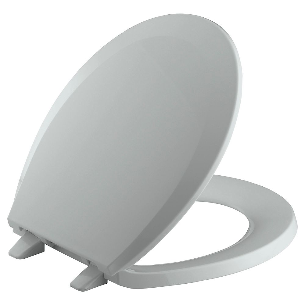 KOHLER Lustra Round Front Closed Toilet Seat in Ice Grey