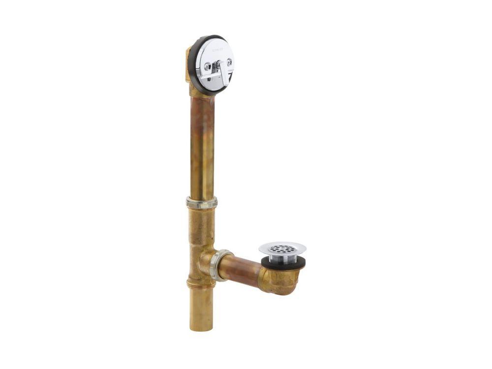 KOHLER Swiftflo(Tm) 1-1/2 Inch Adjustable Trip Lever Drain, 17-Gauge Brass, For 14 Inch To 16 Inch Baths in Polished Chrome