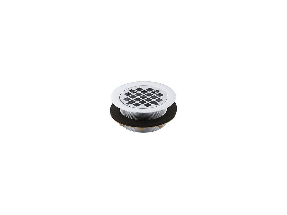 Drain de douche rond a utiliser avec tuyau en plastique, joint d'etancheite inclus