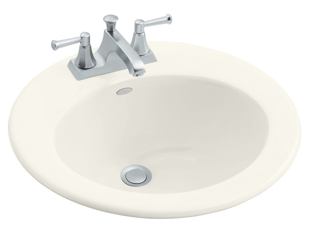 Radiant Self-Rimming Bathroom Sink in Biscuit