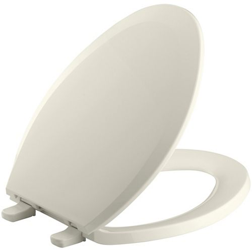 KOHLER Lustra Elongated Closed Front Toilet Seat in Biscuit
