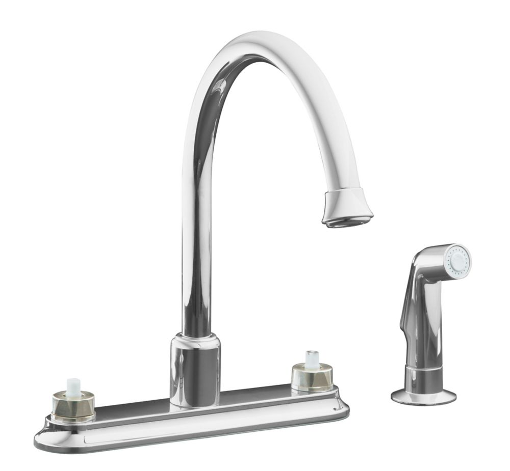 Kohler coralais decorator kitchen sink faucet in polished - Kitchen sink faucets home depot ...
