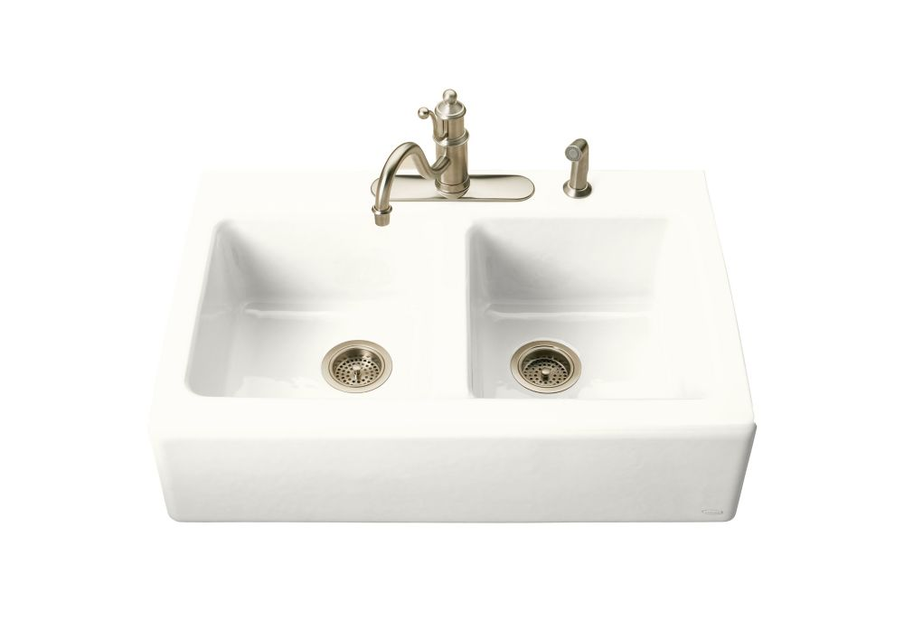 White Apron Kitchen Sink : KOHLER Hawthorne(Tm) Apron-Front, Tile-in Kitchen Sink in White The ...