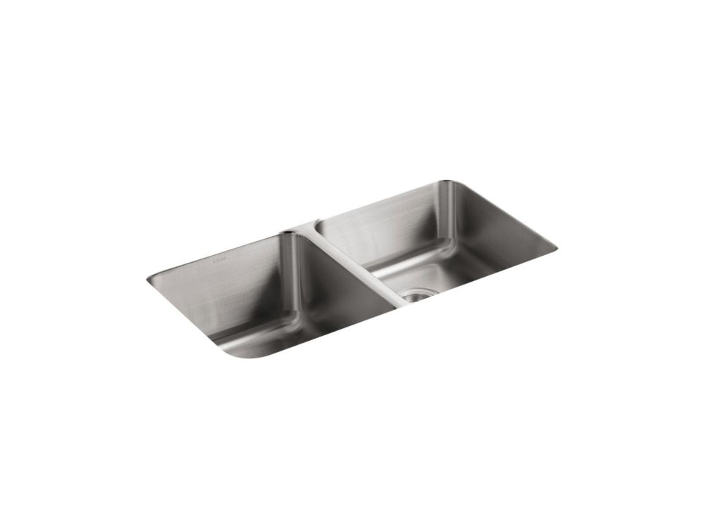 Évier de cuisine sous comptoir double égal Undertone(R) avec profondeur de bassin de 9-1/2 po à g...