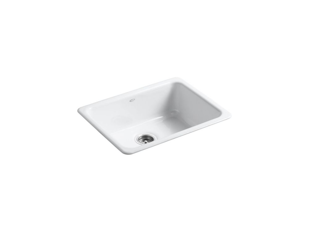 Iron/Tones Self-Rimming/ Undercounter Kitchen Sink in White