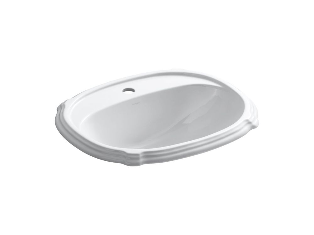 Portrait Self-Rimming Bathroom Sink in White