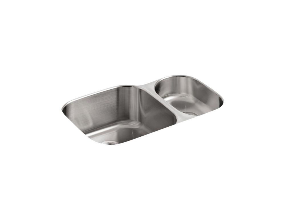 Évier de cuisine sous comptoir haut/bas Undertone(R) avec style de bassin arrondi