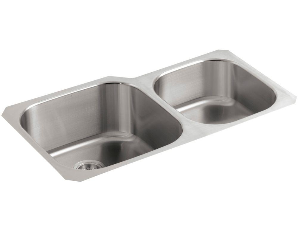 Évier de cuisine sous comptoir extra-large/moyen Undertone(R) avec profondeur de bassin de 9-1/2 ...