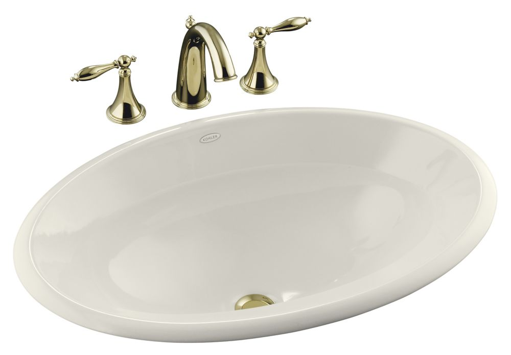 Centerpiece 25-inch L x 17-inch H Self-Rimming Bathroom Sink in Biscuit