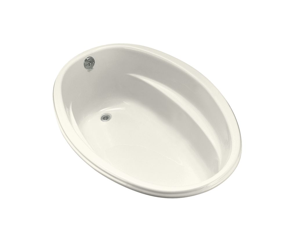 5 Feet Acrylic Oval Drop-in Bathtub in Biscuit