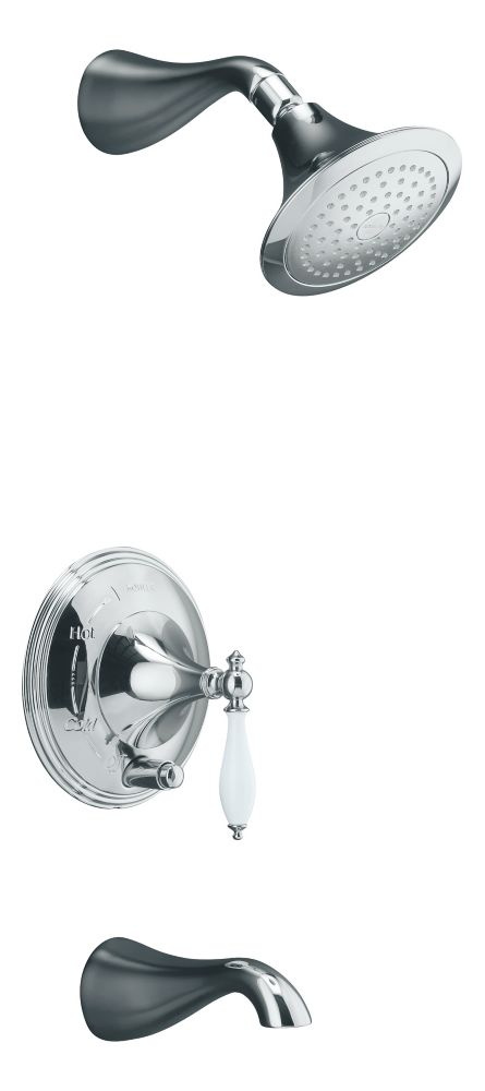 Finial Traditional Rite-Temp Pressure-Balancing Bath/Shower Faucet in Polished Chrome