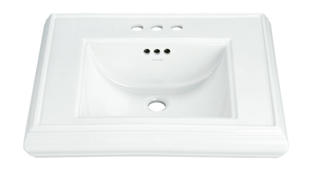 Memoirs Bathroom Pedestal Sink Basin in White