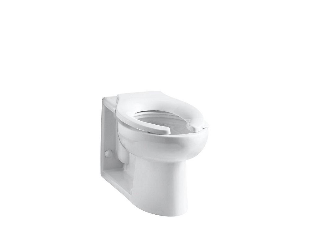 Cuvette de toilette allongee Anglesey, montage au sol, sortie au mur, a  robinet de chasse d\'eau 1,6 gal/chasse avec entree arriere