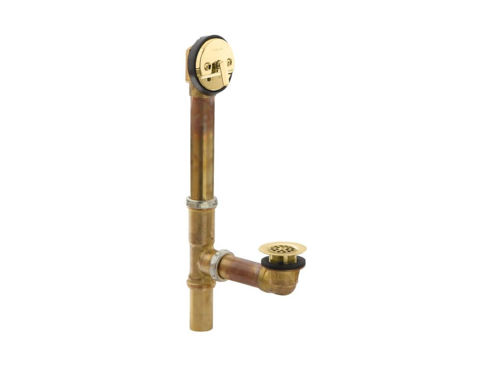 Swiftflo(Tm) Adjustable Trip Lever Drain, 20-Gauge Brass, For 18-1/2 Inch To 20-1/2 Inch Baths in...