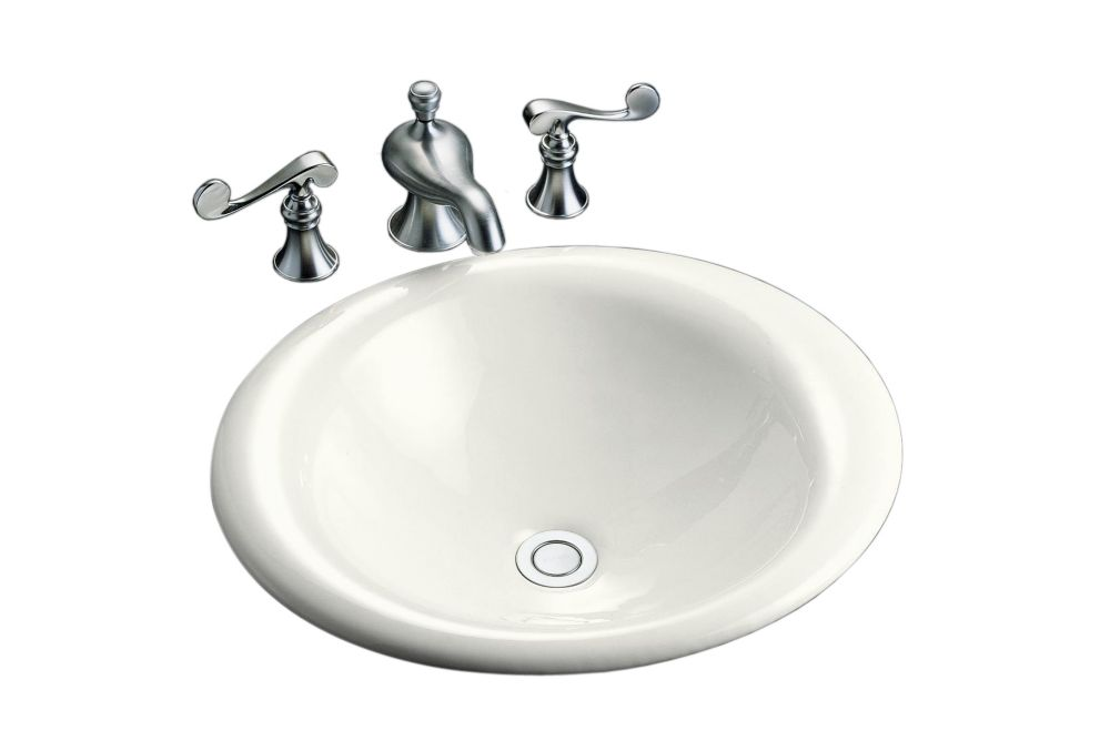Iron Bell Vessels Self-Rimming Vessel Sink in White