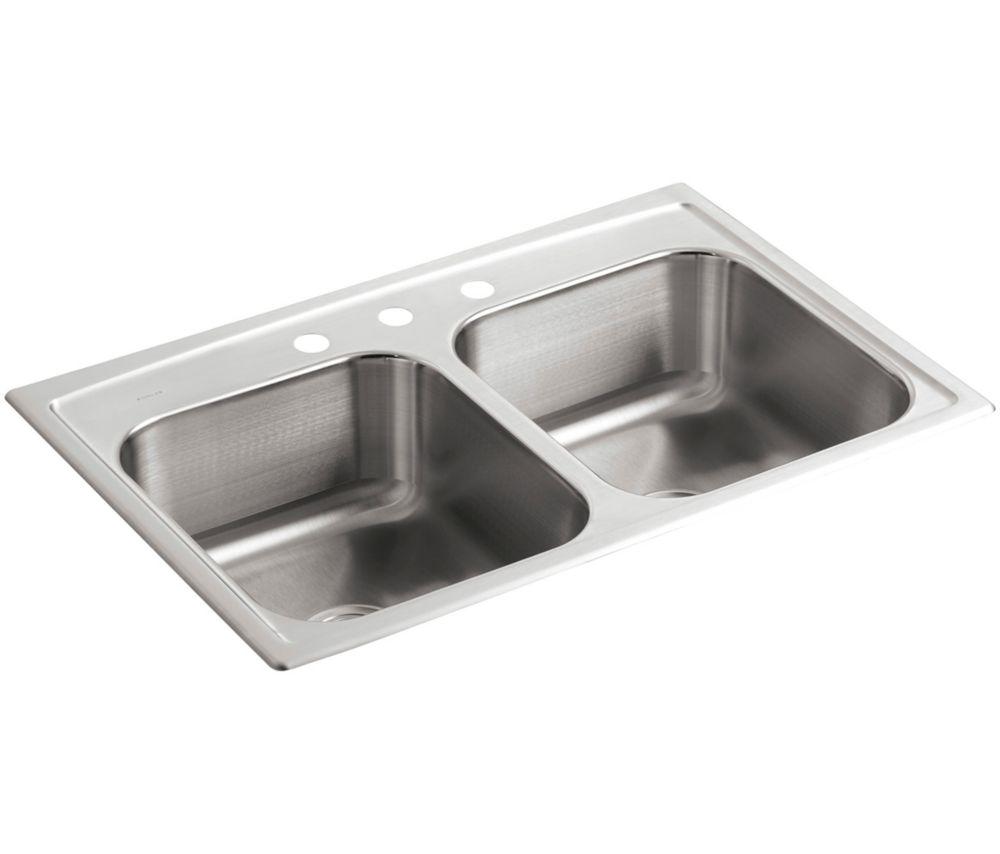 KOHLER Toccata(Tm) Double Equal Self-Rimming Kitchen Sink