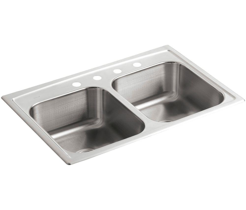 Évier de cuisine à rebord intégré double égal Toccata(TM) avec emplacement pour robinet à quatre ...