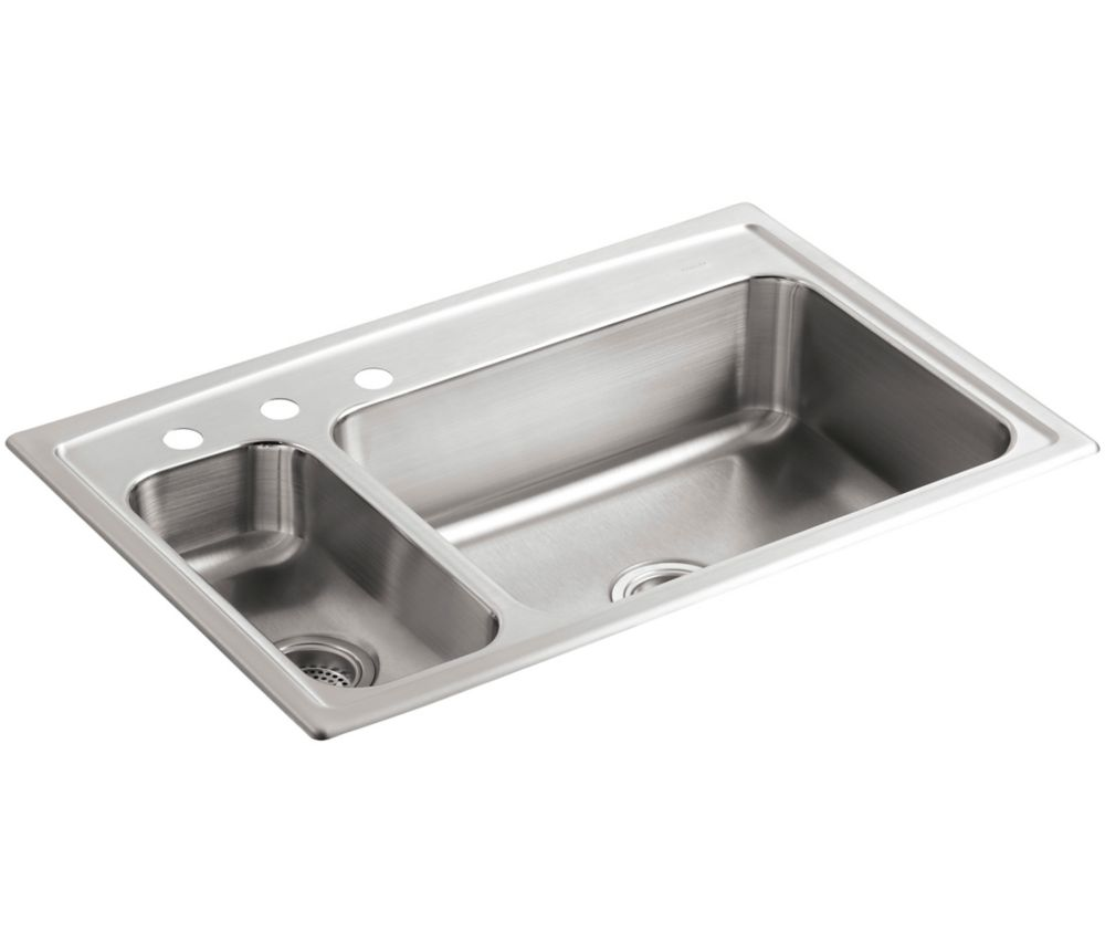 Toccata(Tm) High/Low Self-Rimming Kitchen Sink K-3347L-3-NA Canada Discount