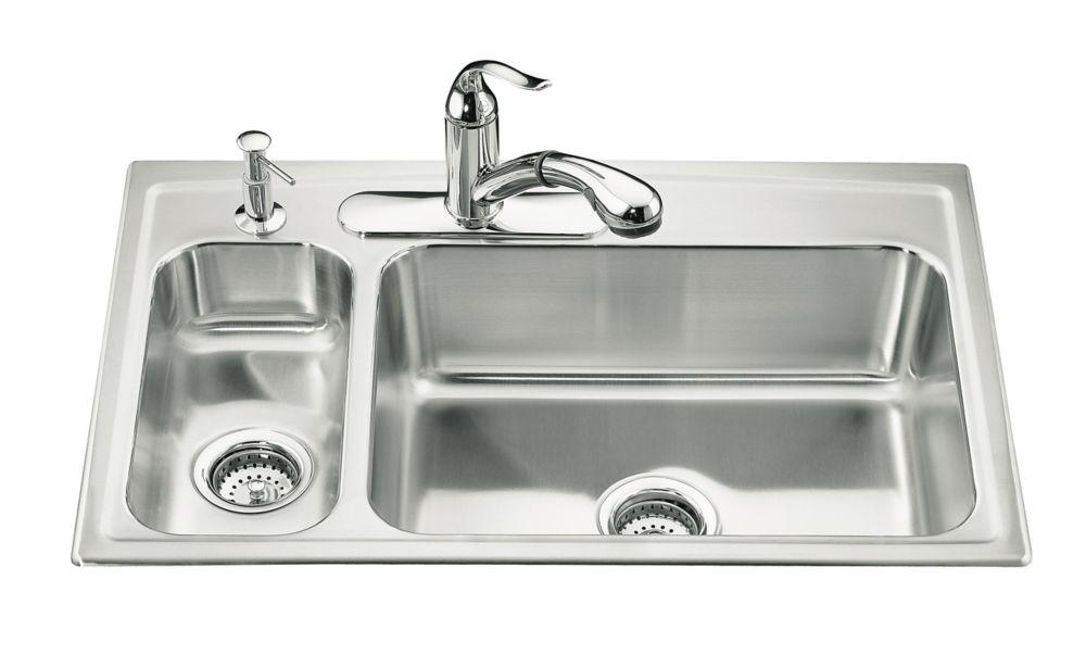 Évier de cuisine à rebord intégré haut/bas Toccata(TM) avec robinet à gauche et emplacement pour ...