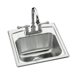 "KOHLER Toccata(TM) 15"" x 15"" x 7-11/16"" top-mount bar sink with 2 faucet holes"