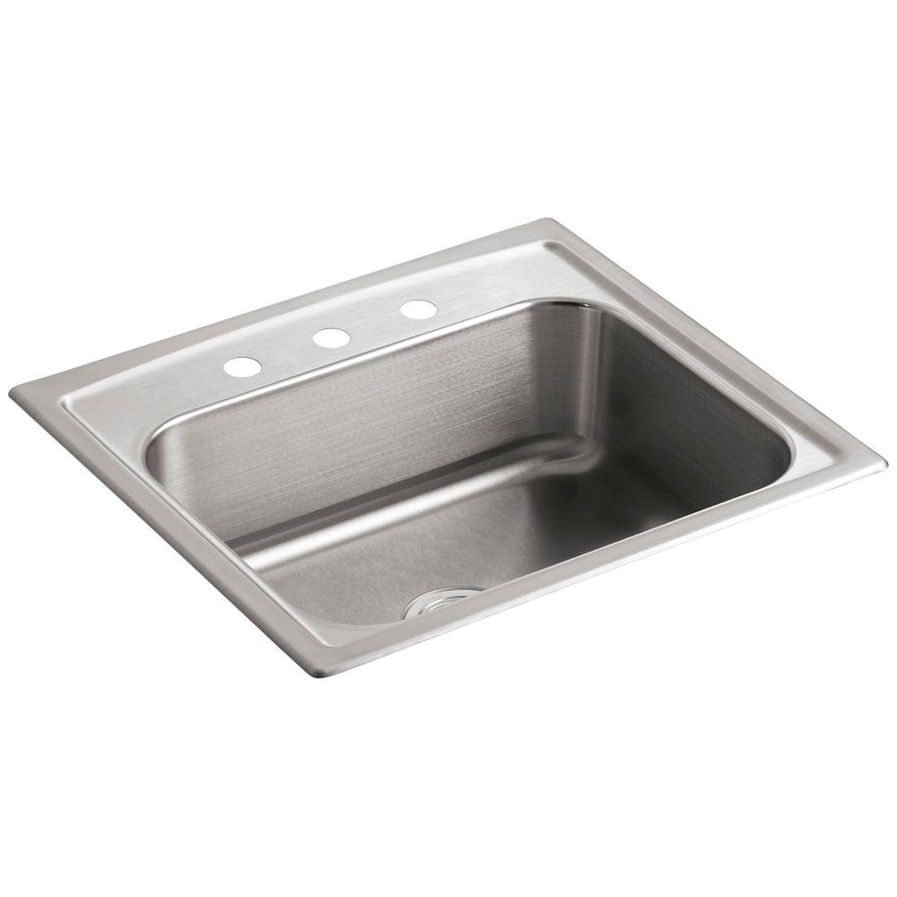 Évier de cuisine à rebord intégré bassin unique Toccata(TM) avec emplacement pour robinet à trois...