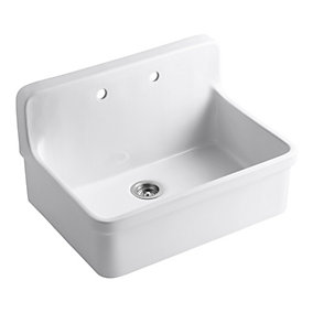 Kohler Gilford Tm A Front Wall Mount Kitchen Sink In White The Home Depot Canada