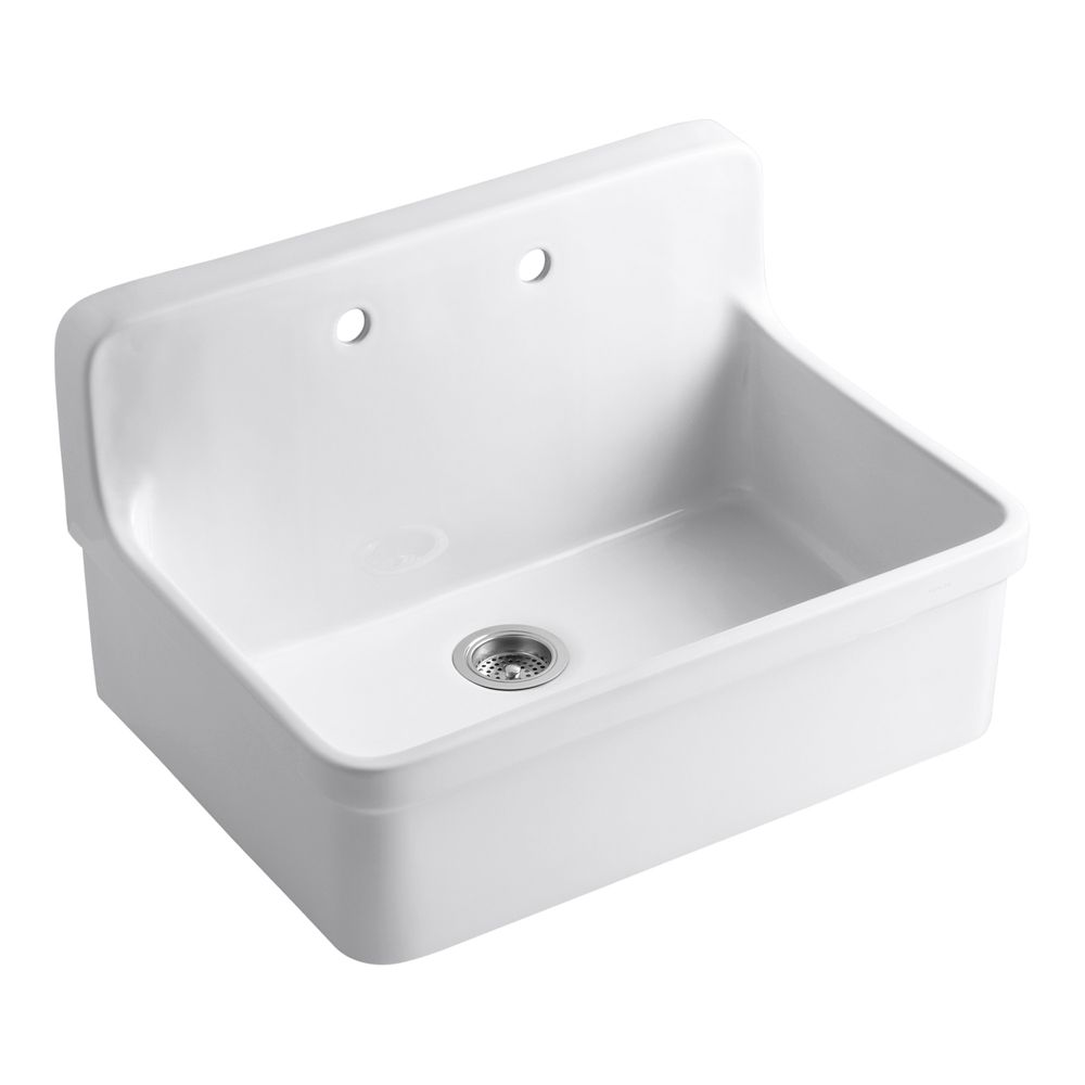 Kohler Gilford Tm Apron Front Wall Mount Kitchen Sink In White