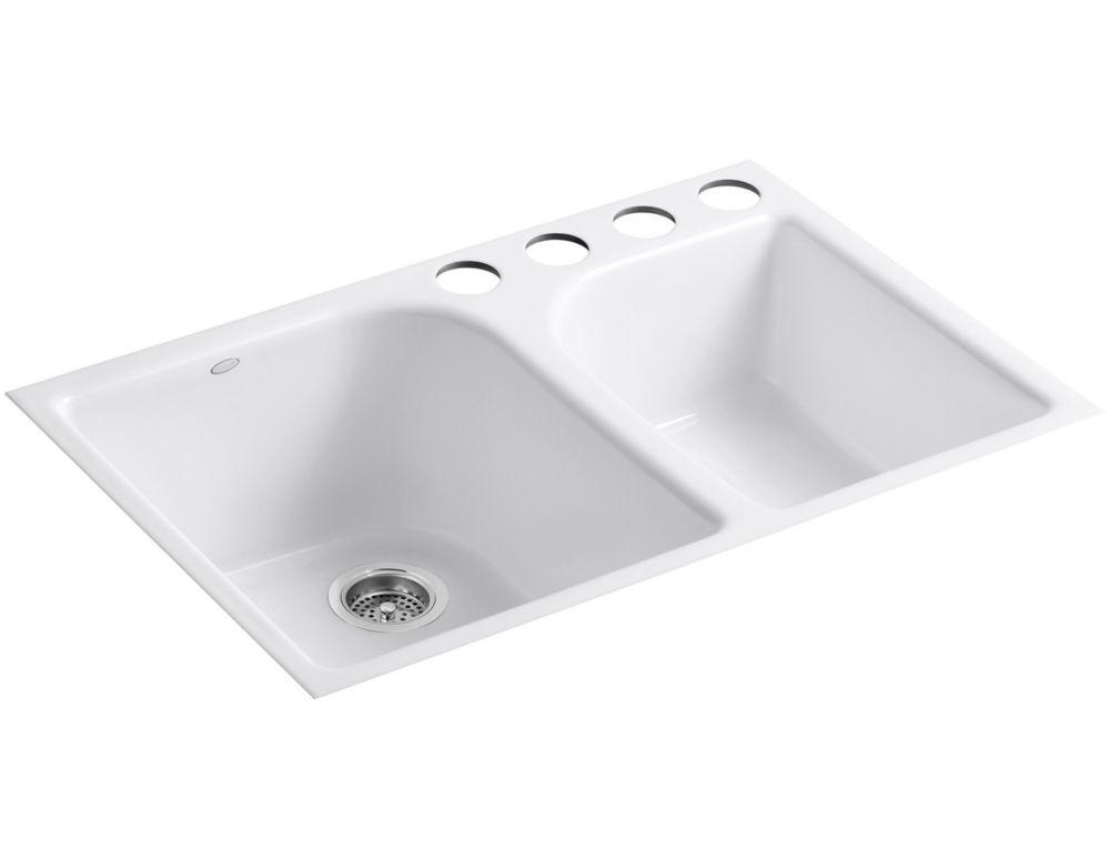 Évier de cuisine sous comptoir Executive Chef(TM) avec forage de robinet à quatre orifices extra-...