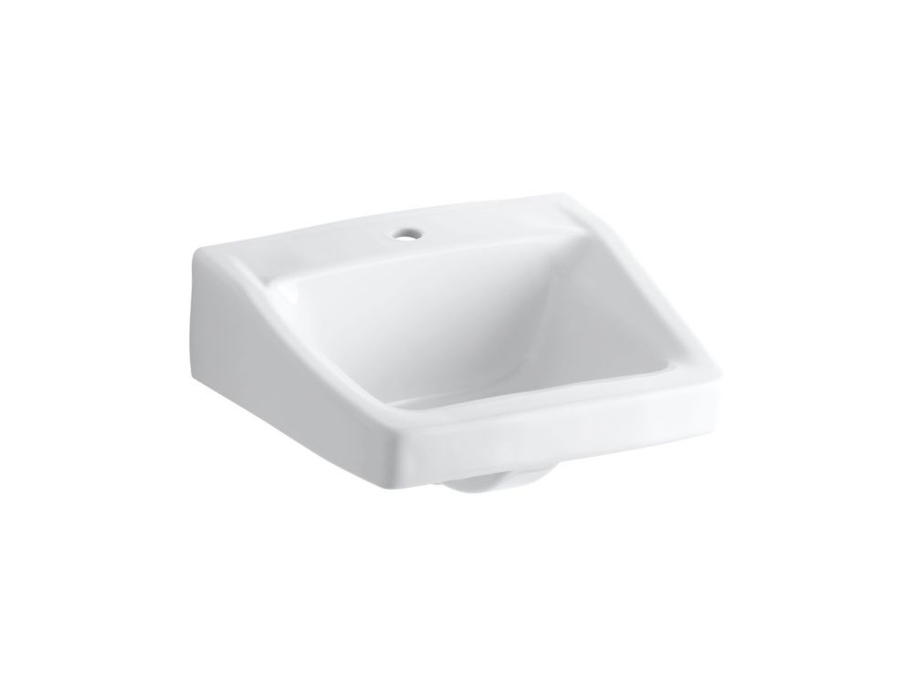 KOHLER Chesapeake(TM) 19-1/4 inch x 17-1/4 inch wall-mount/concealed arm carrier bathroom sink with single faucet hole