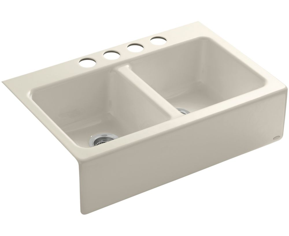 apron front undercounter kitchen sink in almond k 6534 4u 47 in canada ...