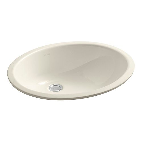 KOHLER Caxton(R) Oval 17 inch x 14 inch under-mount bathroom sink with glazed underside and clamp assembly